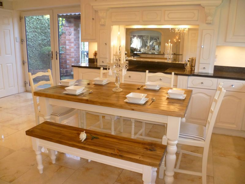 Plank top dining table, matching bench,  four ladder back upholstered chairs