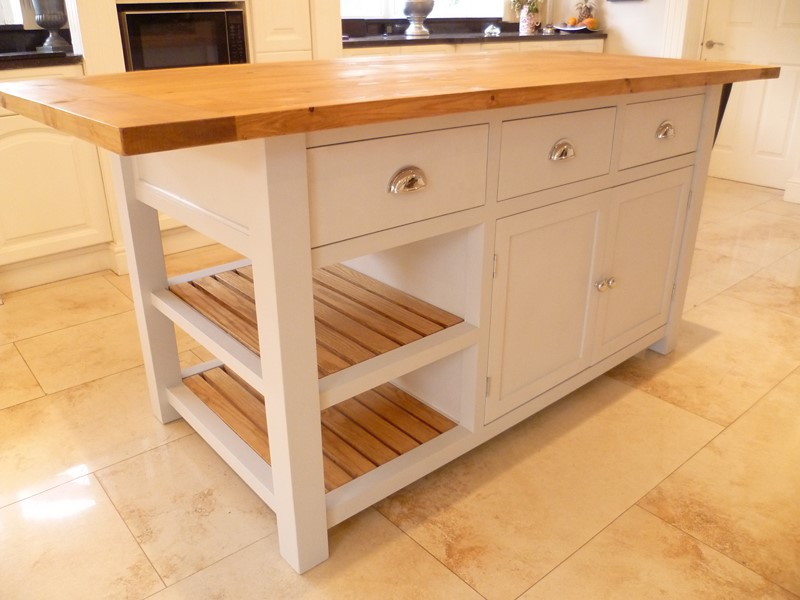 Pine kitchen island, storage, racks, three drawers, double cupboard